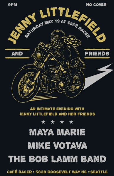 jenny littlefield and friends show poster mike votava cafe racer